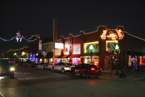 Christmas lights on Main Street in Historic Downtown - Grapevine, TX